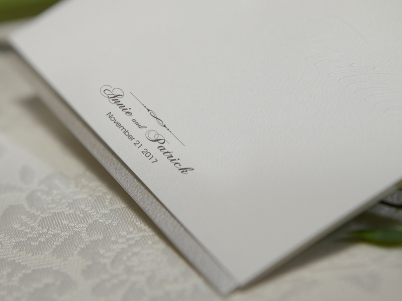 Custom White Embossed Name Title Wedding Invitations Free